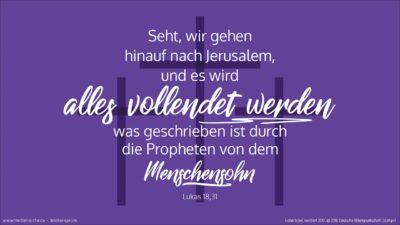 Er nahm aber zu sich die Zwölf und sprach zu ihnen: Seht, wir gehen hinauf nach Jerusalem, und es wird alles vollendet werden, was geschrieben ist durch die Propheten von dem Menschensohn.  (Wochenspruch, Aschermittwoch)