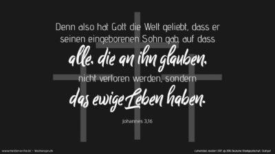 Denn also hat Gott die Welt geliebt, dass er seinen eingeborenen Sohn gab, auf dass alle, die an ihn glauben, nicht verloren werden, sondern das ewige Leben haben. (Wochenspruch, Karfreitag)