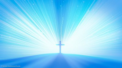Ein Kreuz auf einem Hügel, dahinter ein helles Licht.