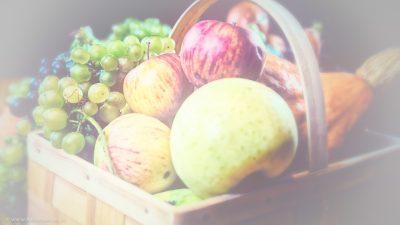 Ein Korb mit frischem, eben geernteten Obst und Gemüse.