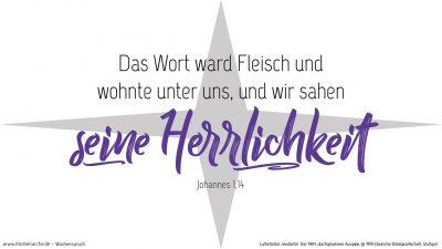 Und das Wort ward Fleisch und wohnte unter uns, und wir sahen seine Herrlichkeit, eine Herrlichkeit als des eingeborenen Sohnes vom Vater, voller Gnade und Wahrheit. (Wochenspruch Christvesper, Christfest)