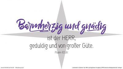 Barmherzig und gnädig ist der HERR, geduldig und von großer Güte. (Wochenspruch Altjahresabend)