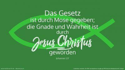 Denn das Gesetz ist durch Mose gegeben; die Gnade und Wahrheit ist durch Jesus Christus geworden. (Wochenspruch 2. Sonntag nach Epiphanias)