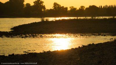Die untergehende Sonne spiegelt sich im Wasser des Rheins