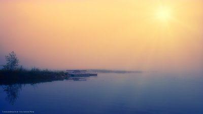 Ein Bootssteg an einem vom Nebel verhüllten See.