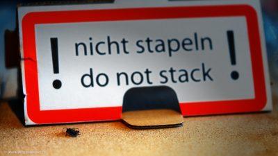 Ein kleines Insekt auf einem Karton vor einem Schild auf dem