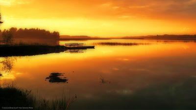 Ein Bootssteg an einem absolut stillen See, am frühen Morgen.