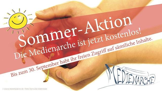 Das Teaser-Bild der Sommer-Aktion der Medienarche. Im Hintergrund: Hände, die Kirschen anbieten..